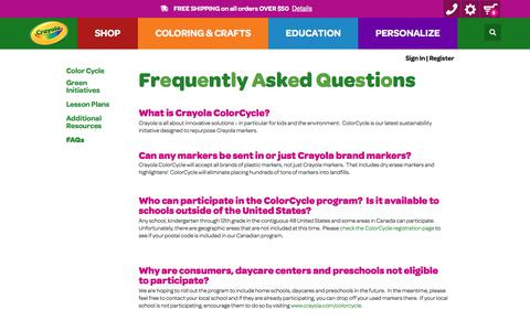 Screenshot of FAQ Page crayola.com - Crayola ColorCycle FAQs | crayola.com - captured June 2, 2017