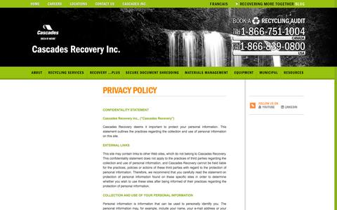 Screenshot of Privacy Page recoverycascades.com - Privacy Policy | Cascades Recovery Inc - captured Oct. 9, 2014