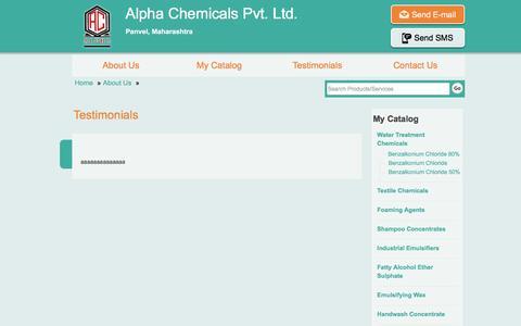 Screenshot of Testimonials Page alphachemicalsindia.com - Testimonials | Alpha Chemicals Pvt. Ltd. - captured Feb. 5, 2016