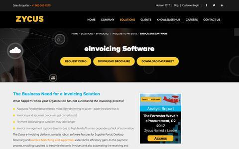 eInvoicing Solution, eInvoicing Software - Zycus