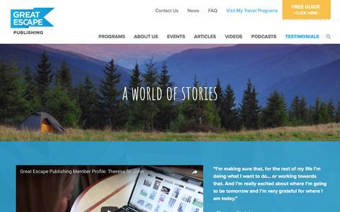 Screenshot of Testimonials Page greatescapepublishing.com - Testimonials - Great Escape Publishing - captured May 23, 2017