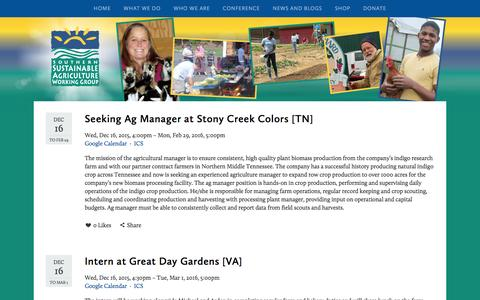 Screenshot of Jobs Page ssawg.org - Jobs — Southern Sustainable Agriculture Working Group - captured Feb. 16, 2016