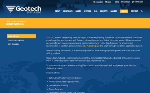 Screenshot of Jobs Page geotechdrilling.com - Work With Us - Geotech Drilling - captured Dec. 14, 2018