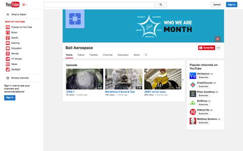 Screenshot of YouTube Page youtube.com - Ball Aerospace  - YouTube - captured Oct. 23, 2014