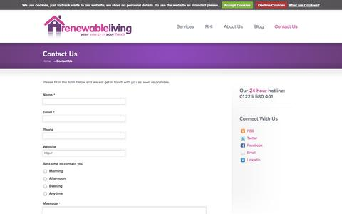 Screenshot of Contact Page renewable-living.com - Contact Us   Renewable Energy Living - captured Oct. 7, 2014