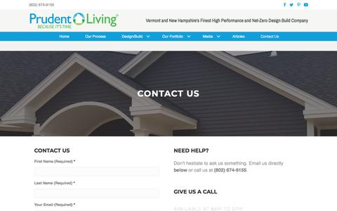 Screenshot of Contact Page prudentliving.com - Contact Us | Prudent Living - captured Sept. 22, 2018