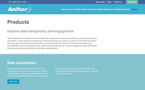 Screenshot of Products Page aether-uk.com - Aether - Products to improve emissions data transparency and engagement - captured Nov. 20, 2016