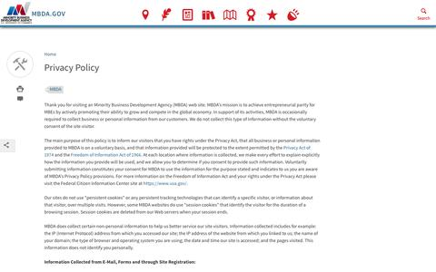 Screenshot of Privacy Page mbda.gov - Privacy Policy | Minority Business Development Agency - captured Oct. 18, 2018