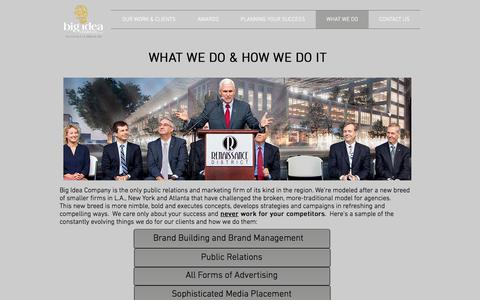 Screenshot of Services Page bigideacompany.com - Big Idea Company | Public Relations & Marketing at the Speed of Life | WHAT WE DO - captured Oct. 10, 2017