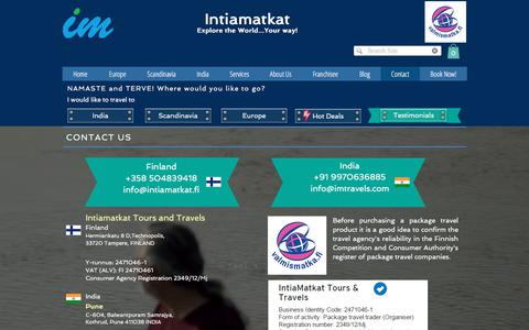Screenshot of Contact Page intiamatkat.fi - Contact Us - captured Sept. 19, 2018