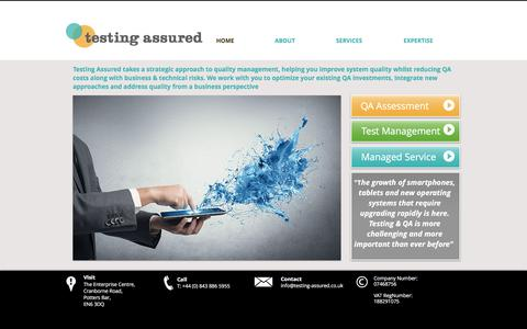 Screenshot of Home Page testing-assured.co.uk - QA & Test Consultancy - captured Nov. 8, 2017