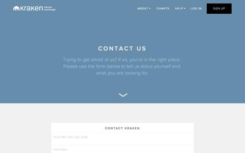 Screenshot of Contact Page kraken.com - Kraken | Buy, Sell, and Trade Bitcoins - Contact - captured Oct. 1, 2015