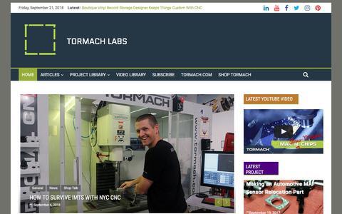 Screenshot of Blog tormach.com - Home - TORMACH LABS - captured Sept. 21, 2018
