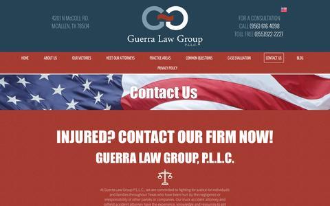 Screenshot of Contact Page guerralawgroup.com - Contact Guerra Law Group P.L.L.C. | McAllen TX - captured Nov. 16, 2016
