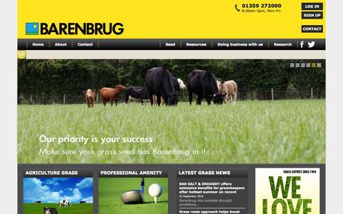 Screenshot of Home Page barenbrug.co.uk - Barenbrug UK | Grass Seed For Amenity, Agriculture, Domestic & Equestrian Use - captured Sept. 30, 2014