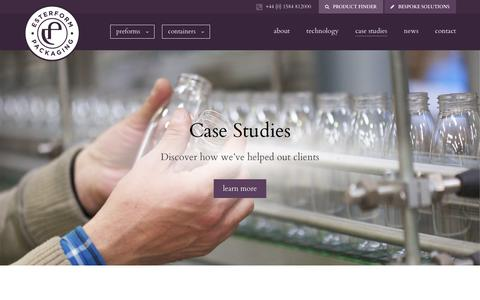 Screenshot of Case Studies Page esterform.com - Case Studies Archive | Esterform Packaging - captured Aug. 22, 2017