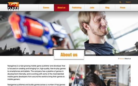 Screenshot of About Page flaregames.com - About us | flaregames - captured Oct. 22, 2014