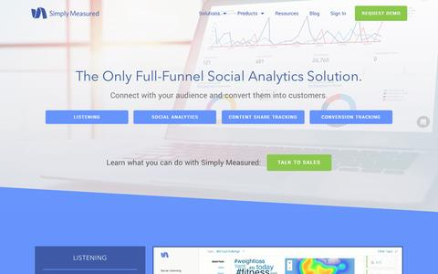 Screenshot of Products Page simplymeasured.com - The Complete Social Analytics Solution | Simply Measured - captured May 25, 2017