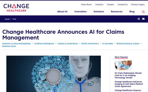 Screenshot of Team Page changehealthcare.com - Change Healthcare Announces AI for Claims Management | Change Healthcare - captured Feb. 20, 2020