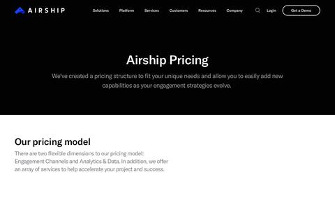 Screenshot of Pricing Page airship.com - (2) New Messages! - captured April 17, 2019