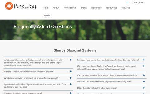 Screenshot of FAQ Page pureway.com - FAQ - PureWay - captured Sept. 19, 2017