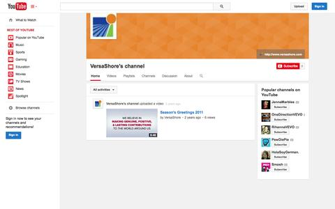 Screenshot of YouTube Page youtube.com - VersaShore's channel  - YouTube - captured Oct. 26, 2014
