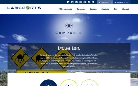 Screenshot of Locations Page langports.com - Campus Locations | Langports - captured July 11, 2016