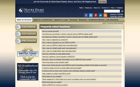 Screenshot of FAQ Page notredamefcu.com - Frequently Asked Questions | Notre Dame Federal Credit Union - captured Oct. 26, 2014