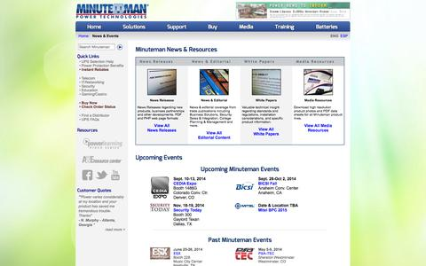 Screenshot of Press Page minutemanups.com - Minuteman UPS News & Events - captured Sept. 22, 2014