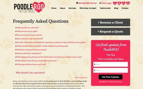 Screenshot of FAQ Page poodleroo.com - FAQ   Dog Sitting Services New Orleans - captured Nov. 8, 2016