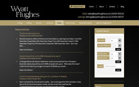 Screenshot of Press Page wyatthughes.co.uk - News - Wyatt Hughes - captured Aug. 17, 2015