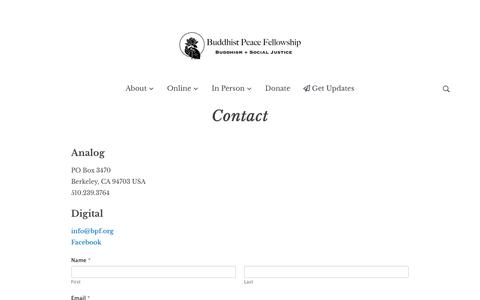 Screenshot of Contact Page buddhistpeacefellowship.org - Contact - Buddhist Peace Fellowship - captured Aug. 18, 2019