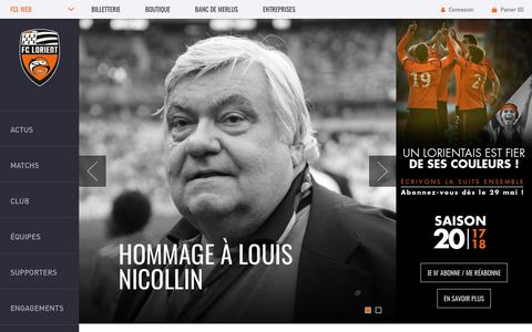 Screenshot of Home Page fclweb.fr - FC Lorient | Site officiel du club - captured June 30, 2017