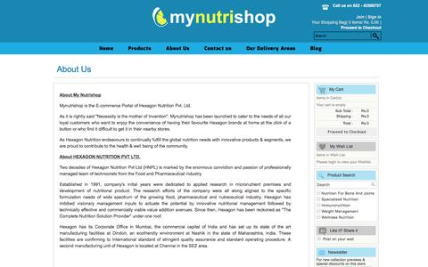 Screenshot of About Page mynutrishop.co.in - Supplement Store - Hexagon Nutrition Products Online - captured May 25, 2016