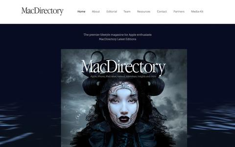 Screenshot of Home Page macdirectory.com - MacDirectory Magazine - captured Aug. 23, 2016