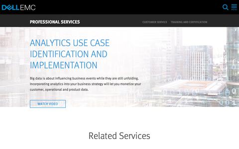 Screenshot of Services Page dellemc.com - Big Data Use Case Identification and Strategy | Dell EMC US - captured Feb. 5, 2018
