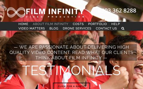 Screenshot of Testimonials Page filminfinity.co.uk - TESTIMONIALS - captured Aug. 13, 2018