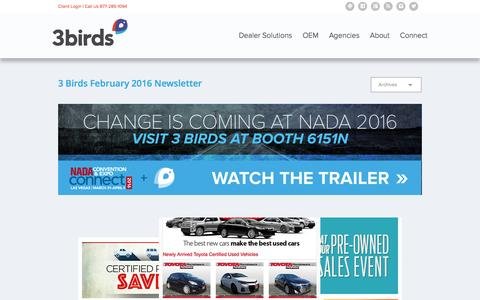 Screenshot of Press Page 3birdsmarketing.com - 3 Birds February 2016 Newsletter - captured Feb. 26, 2016