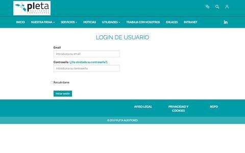 Screenshot of Login Page pleta.es - Login page - Pleta Auditores Consultores S.L.P. - captured Jan. 12, 2020