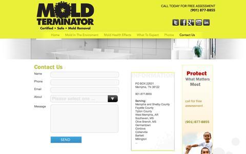 Screenshot of Contact Page moldterminatorinc.com - Contact Us | Mold Terminator Inc. - captured Oct. 26, 2014