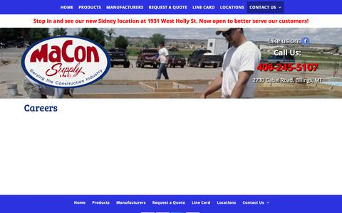 Screenshot of Jobs Page maconsupply.net - Concrete Accessories & Forming|MaCon Supply Inc. - captured Dec. 8, 2018