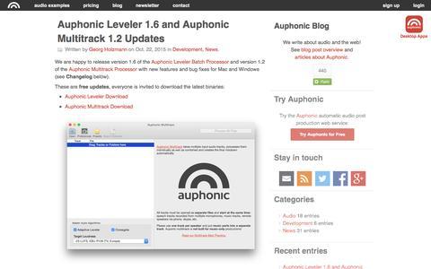 Screenshot of Blog auphonic.com - Auphonic Blog: Latest entries - captured Nov. 11, 2015