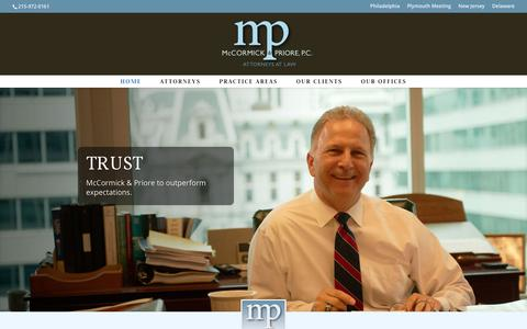 Screenshot of Home Page mccormickpriore.com - McCormick & Priore - Attorneys at Law | Philadelphia based defense litigators - captured Jan. 9, 2016