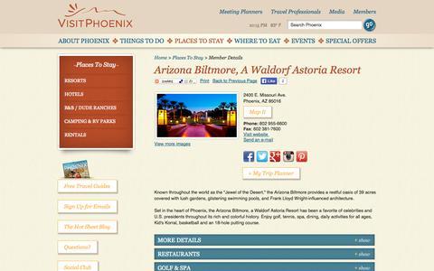 Screenshot of Home Page visitphoenix.com - Phoenix Arizona | Phoenix Attractions and Events : VisitPhoenix.com - captured Oct. 12, 2014