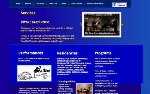 Screenshot of Services Page trinklebrassworks.org - Trinkle Brass Works Services - captured Oct. 8, 2014