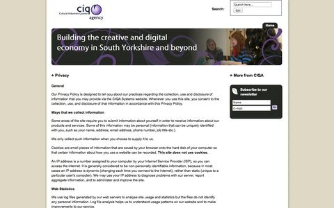 Screenshot of Privacy Page ciq.org.uk - CIQA - The Cultural Industries Quarter Agency Sheffield |  Privacy - captured Oct. 1, 2014