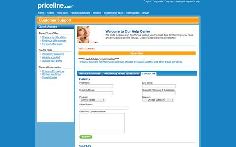 Screenshot of Contact Page priceline.com - Priceline.com - Travel, airline tickets, cheap flights, hotels, hotel rooms, rental cars, car rental - captured Sept. 12, 2014