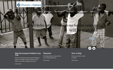 Screenshot of Home Page dreamsfororphans.org - Dreams for Orphans   Growth and Success of Children   Non-profit - captured Jan. 7, 2016
