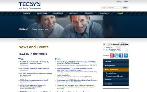 Screenshot of Press Page tecsys.com - News & Events: Inventory Management Software - captured Nov. 3, 2014