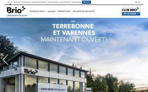 Screenshot of Home Page bri-o.com - BRIO   Le lave-auto intelligent - captured Sept. 13, 2015